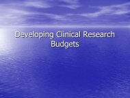 Developing Clinical Research Budgets