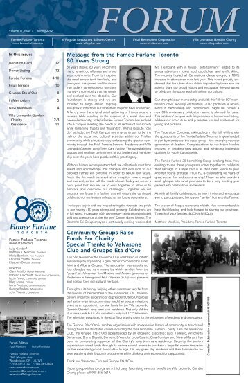 Spring 2012, Volume 11, Issue 1 - the Villa Leonardo Gambin Charity