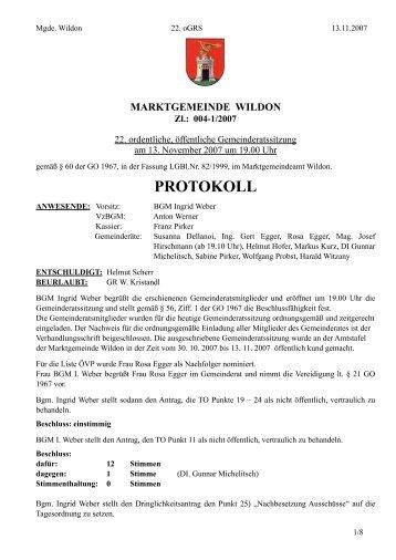 Protokoll der 22. Gemeinderatssitzung - Wildon