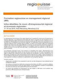 Regional Entrepreneurship et économie régionale - Regiosuisse