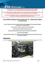 Das metallische Klappern beim zuwerfen der Tür ... - BMW E39-Forum