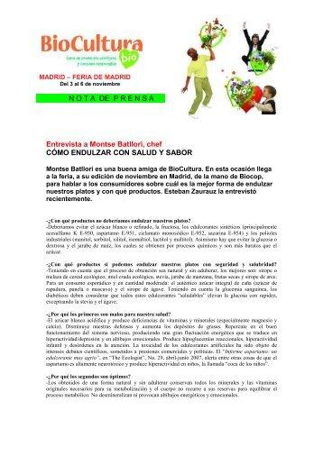 NOTA DE PRENSA * Entrevista a Montse Batllori, chef ... - Biocultura
