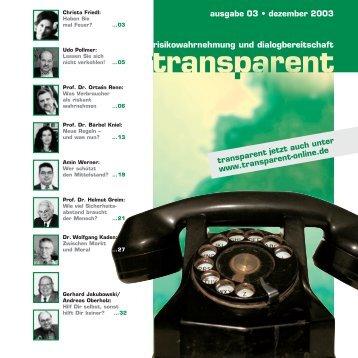 Neue Regeln – und was nun? - transparent