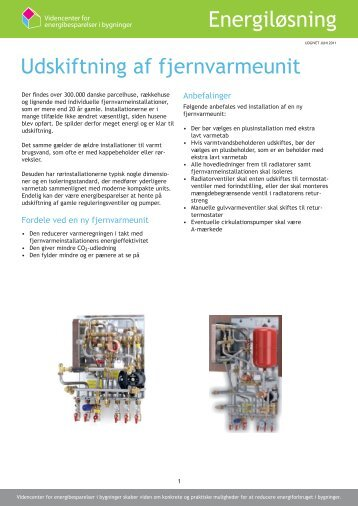 Udskiftning af fjernvarmeunit pdf - Videncenter for energibesparelser ...