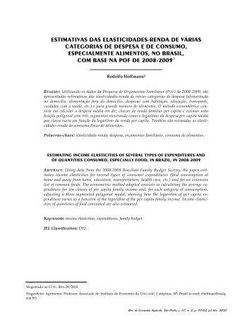 ESTIMATIVAS DAS ELASTICIDADES-RENDA DE VÁRIAS ... - Unesp