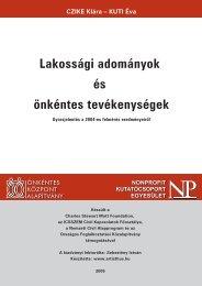 Lakossági adományok és önkéntes tevékenységek - Nonprofit Kutatás