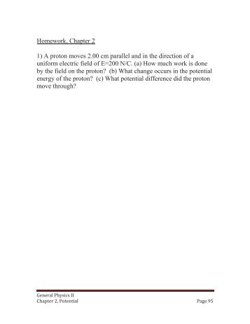 Homework, Chapter 2 1) A proton moves 2.00 cm parallel and in the ...