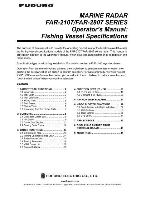 Fishing Vessel Specifications - Furuno