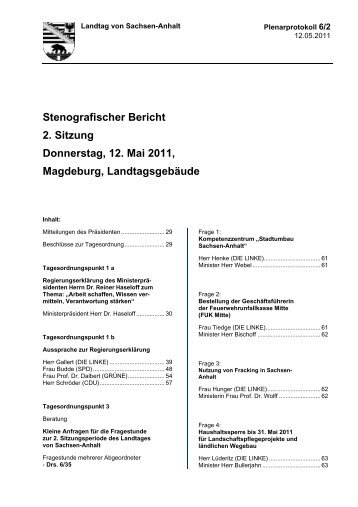 Stenografischer Bericht 2. Sitzung Donnerstag, 12. Mai 2011 ...