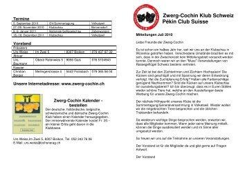 2010 Juli Mitteilungen - Zwerg-Cochin Klub Schweiz