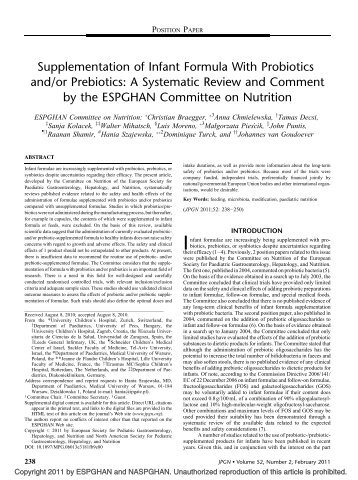 Supplementation of Infant Formula With Probiotics and ... - ESPGHAN