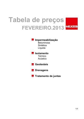 Tabela de preços - Texsa