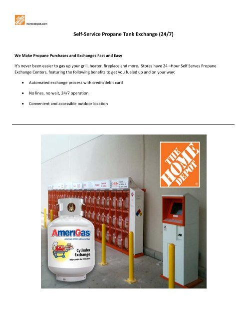Self Service Propane Tank Exchange 24 7 Home Depot