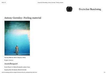 Antony Gormley: Feeling material - janfrontzek.de