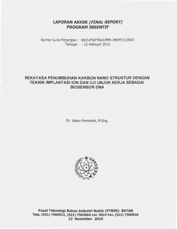 LAPORAN AKHIR (FINAL REPORT} PROGRAM INSENTIF - KM Ristek