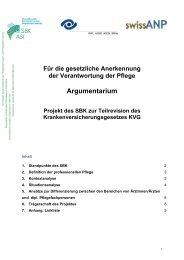 Argumentarium - Schweizer Berufsverband der Pflegefachfrauen und