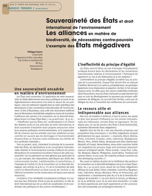Souveraineté des États et droit Les alliances en matière de L ...