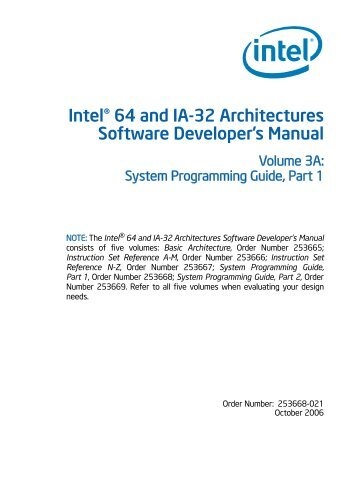 Intel® 64 and IA-32 Architectures Software ... - Singlix web site