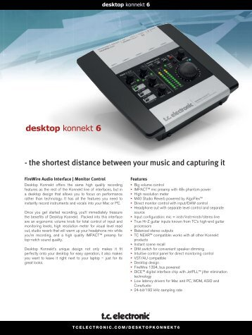 TC Electronics Desktop Konnekt 6 Brochure - Full Compass