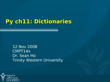 Py ch11: Dictionaries