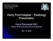 Radiology Presentation - Henry Ford Health System