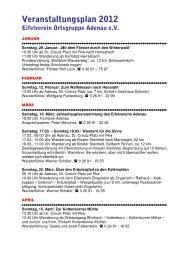 Veranstaltungsplan 2012 Eifelverein OG Adenau
