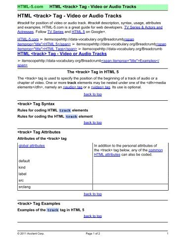 Tag - HTML 5 Reference for Web Designers