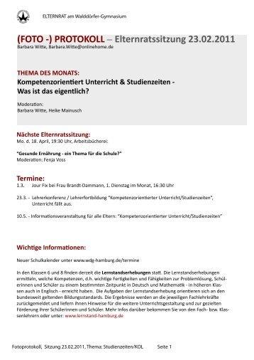 (FOTO -) PROTOKOLL – Elternratssitzung 23.02.2011 - Walddörfer ...