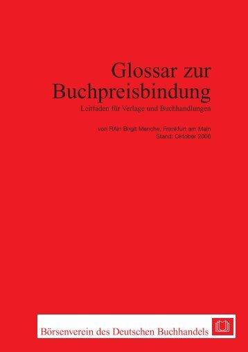 Glossar zur Preisbindung.pdf - Börsenverein des Deutschen ...