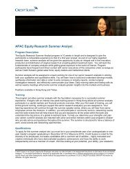 APAC Equity Research Summer Analyst
