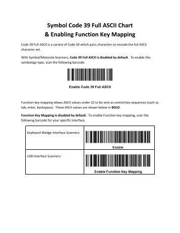Symbol Code 39 Full ASCII Chart & Enabling Function Key Mapping