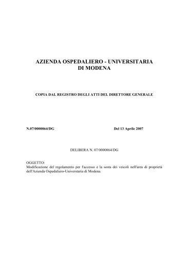 delibera 64-07 regolamento parcheggi - Policlinico di Modena