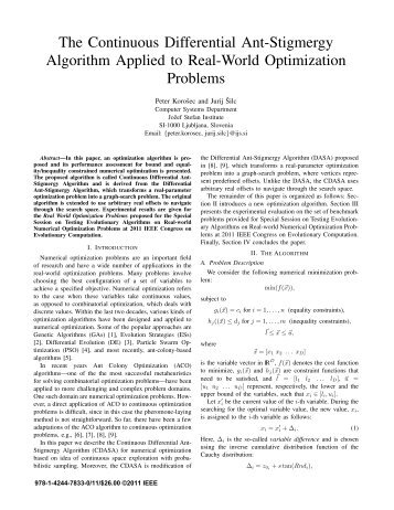 The Continuous Differential Ant-Stigmergy Algorithm Applied to