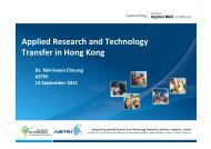 Applied Research and Technology Transfer in Hong Kong
