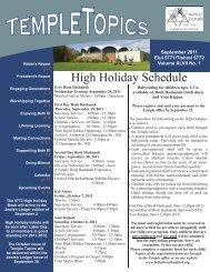 High Holiday Schedule - Beth El Temple