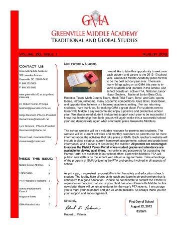 August 2012 Newsletter - Greenville County School District