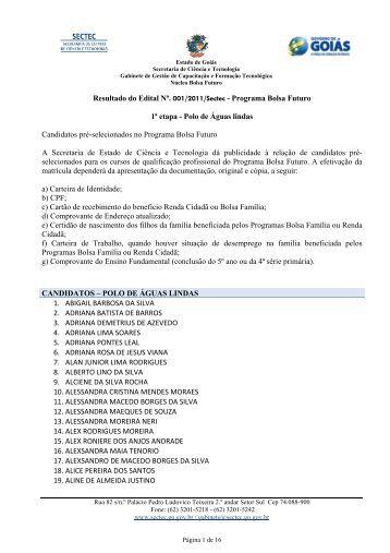 Programa Bolsa Futuro 1ª etapa - Polo de Águas lindas Candidatos ...