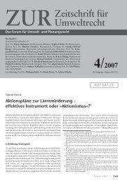 effektives Instrument oder »Aktionismus«? - Zeitschrift für Umweltrecht