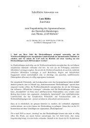 Schriftliche Antworten zum Fragenkatalog des Agrarausschusses