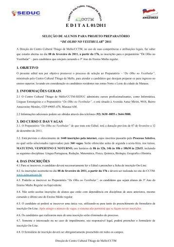 E D I T A L 01/2011 - Centro Cultural Thiago de Mello