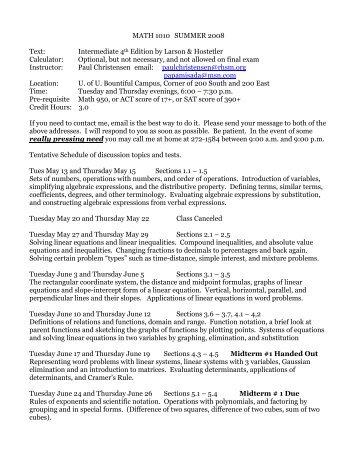 MATH 1010 SUMMER 2008 Text: Intermediate 4th Edition by Larson ...