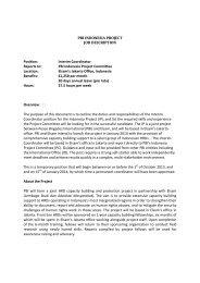 PBI INDONESIA PROJECT JOB DESCRIPTION Position: Interim ...