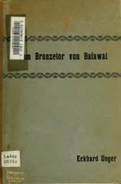 Zum Bronzetor von Balawat, Beiträge zur Erklärung und Deutung der