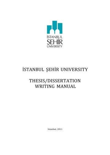 i̇stanbul şehi̇r university thesis/dissertation writing manual