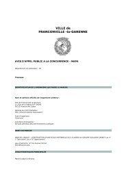 Consulter l'avis pour le marché n°13BA027 - Franconville