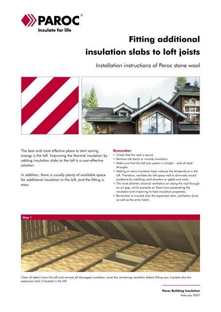 Fitting additional insulation slabs to loft joists - Paroc.com