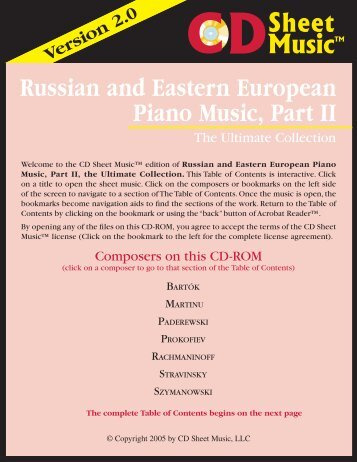 Russian and Eastern European Piano Music, Part II
