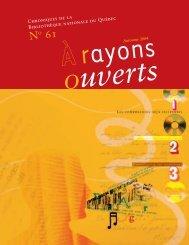 no 61 a rayons ouverts - Bibliothèque et Archives nationales du ...
