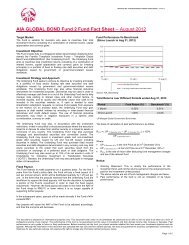 AIA Global Bond Fund 2 Fund Fact Sheet - August 2012