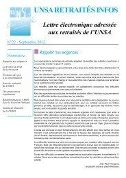 La lettre de l'Unsa-Retraités n°22 - Se-Unsa